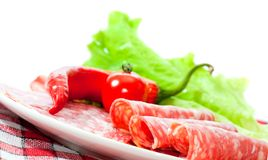 Sliced ??sausages  with vegetables Stock Photography