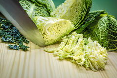 Sliced savoy cabbage Royalty Free Stock Image