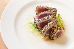 Sliced seared ahi with vinaigrette Stock Image