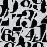 Sliced Serif Numbers Seamless Pattern, Mathematics Background. Black on Grey royalty free illustration