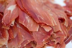 Sliced serrano ham Stock Photos