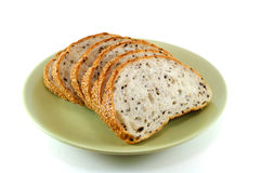 Sliced Sesame Bread On White Background royalty free stock images