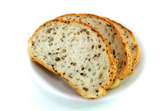 Sliced Sesame Bread On White Background stock photos