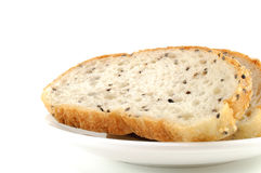 Sliced Sesame Bread On White Background royalty free stock photo