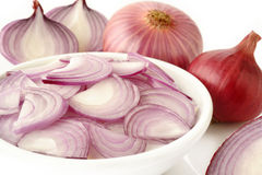 Sliced shallot onion Stock Photography