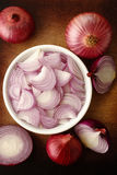 Sliced shallot onion Stock Photos