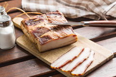 Sliced smoked bacon Stock Photography