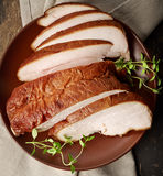 Sliced smoked chicken meat Royalty Free Stock Photo