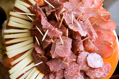 Sliced smoked meat and cheese Royalty Free Stock Photo