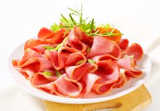 Sliced smoked pork ham Royalty Free Stock Images