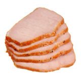 Sliced Smoked Pork Loin Isolated on White Background Royalty Free Stock Photos