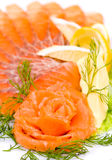 Sliced smoked salmon Royalty Free Stock Images