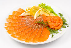 Sliced smoked salmon Stock Image