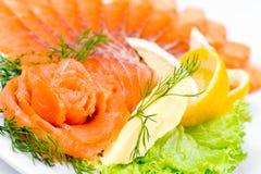 Sliced smoked salmon, macro Stock Images