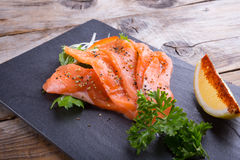 Sliced smoked salmon Stock Image