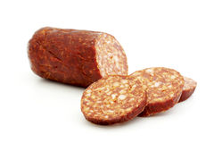 Sliced smoked sausage Stock Images