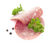 Sliced smoked sausage Stock Photography