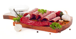 Sliced smoked sausage Royalty Free Stock Photography