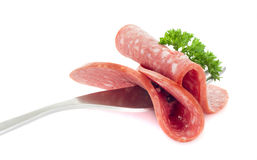 Sliced smoked sausage at the forc Stock Photo