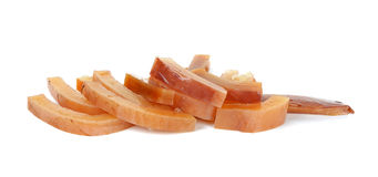 Sliced of soak squid isolated on the white.  stock photos