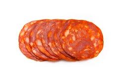 Sliced Spanish chorizo sausage  Stock Photography