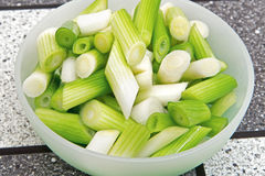 Sliced spring onion Stock Image