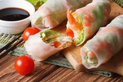 Sliced the spring rolls with shrimp close up on the table Royalty Free Stock Photo