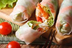 Sliced the spring rolls with shrimp top view horizontal Stock Photos