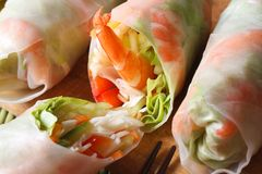 Sliced spring rolls with shrimp vegetables macro horizontal Stock Photography
