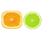 Sliced square and circle orange, isolate Royalty Free Stock Photography