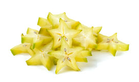Sliced star apple isolated on the white background Royalty Free Stock Photos