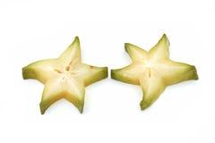 Sliced Star fruit. On white background Stock Image