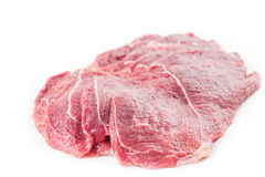 Sliced steak from fresh pork raw meat Royalty Free Stock Images