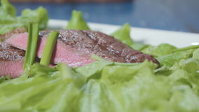 Sliced steak on a plate stock video footage