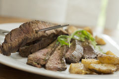 Sliced Steak Potatoes Stock Photography