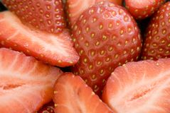 Sliced strawberries Stock Photo