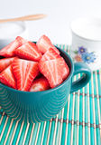 Sliced strawberries in a bowl Royalty Free Stock Photography