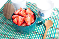 Sliced strawberries in a bowl Royalty Free Stock Photos