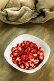 Sliced strawberries in a bowl Stock Image