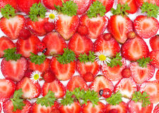 Sliced Strawberries, healthy background Royalty Free Stock Photography