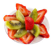 Sliced strawberries and kiwi Stock Photography