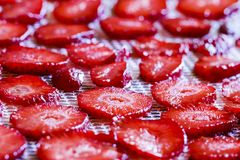 Sliced strawberries laid on a dryer stock images