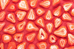 Sliced strawberries pattern Stock Photos