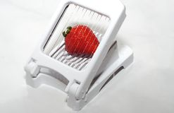 Sliced strawberry. Fresh strawberry ready for breakfast Royalty Free Stock Images