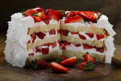 Sliced strawberry cake Stock Photography