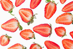 Sliced strawberry.  Slices. Strawberry pattern. Macro. Texture. Stock Photography