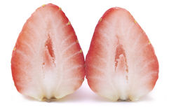 Sliced strawberry without stalk. Close up shot of Sliced strawberry isolated on white background without stalk Stock Photo