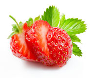Sliced strawberry  on white Royalty Free Stock Photo