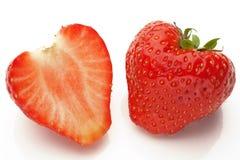 Sliced strawberrys on white Stock Photos