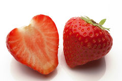 Sliced strawberrys on white Royalty Free Stock Images